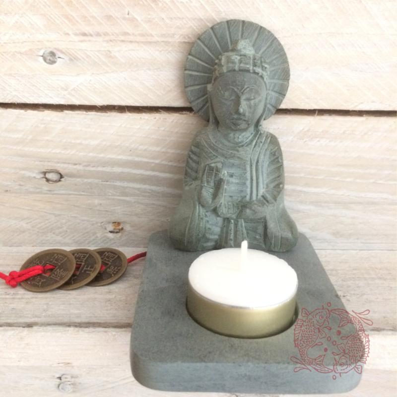 Boeddha met Theelicht Houder van puur Zeepsteen2