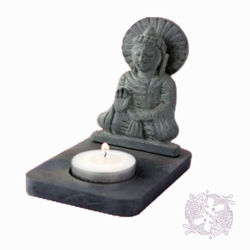 Boeddha met Theelicht Houder van puur Zeepsteen3