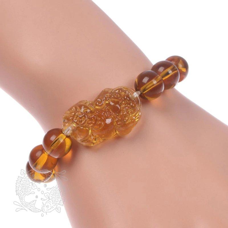 Feng Shui Armband van Geel Glas Kristal met Grote Pi Yao