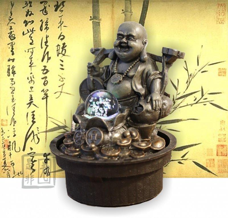 Kamerfontein Rijkdom Boeddha met Ru Yi (Rijkdom en Carrière)