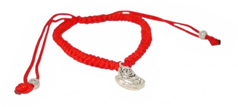Krachtig armbandje met Boeddha hangertje (Rood)2