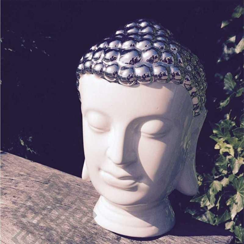 Thaise Boeddha Hoofd Wit Keramiek3