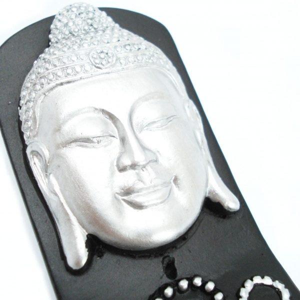 Wierookhouder Thaise Boeddha (Zilver op zwart)
