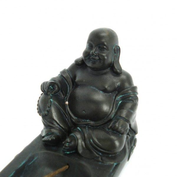 Wierookhouder zittende Chinese Boeddha (Zwart)