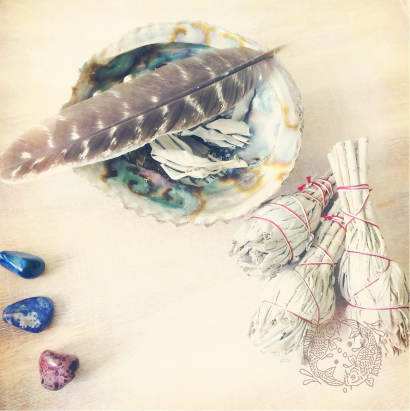 Witte Salie - Space Clearing Set (Smudge en Abalone Schelp )