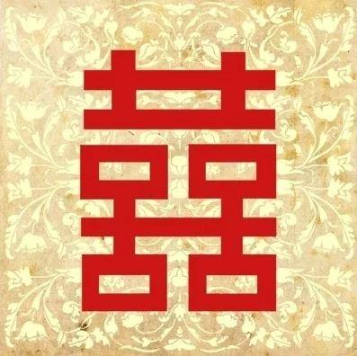 Feng Shui Canvas Dubbel Geluk groot (40 x 40 cm)