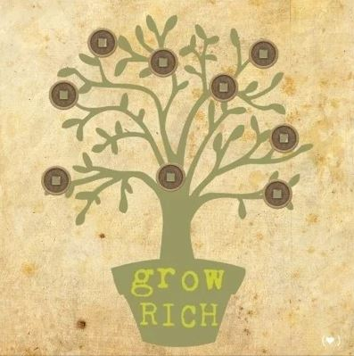 Feng Shui Canvas `Grow Rich` Wealth Tree (40 x 40 cm)