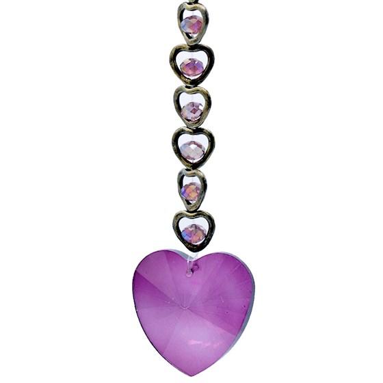 Feng Shui Kristal Hanger Paars (15 Hearts)