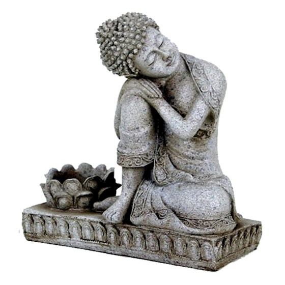 Boeddha met kaarshouder steen grijs